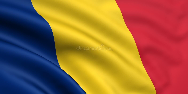 Bandierina della Romania/Repubblica del Chad illustrazione di stock