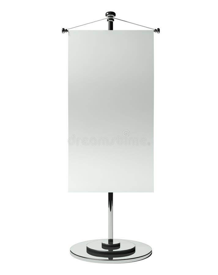 bandierina della tabella in bianco 3d isolata su bianco illustrazione di stock