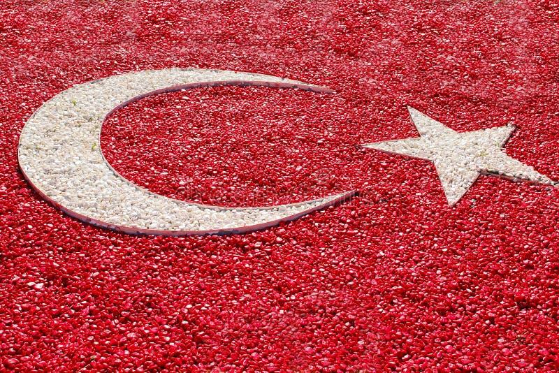 Bandierina della Turchia, fatta con la pietra colorata del ciottolo fotografia stock libera da diritti