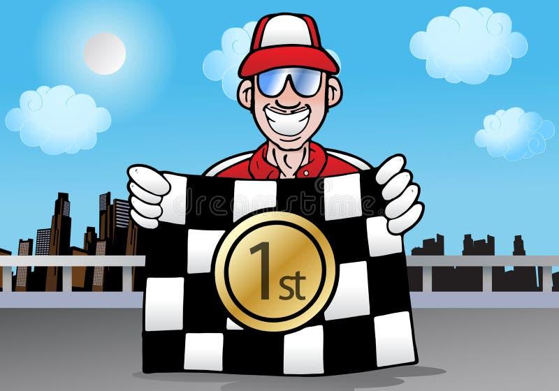 Bandierina di conquista Checkered della corsa illustrazione di stock