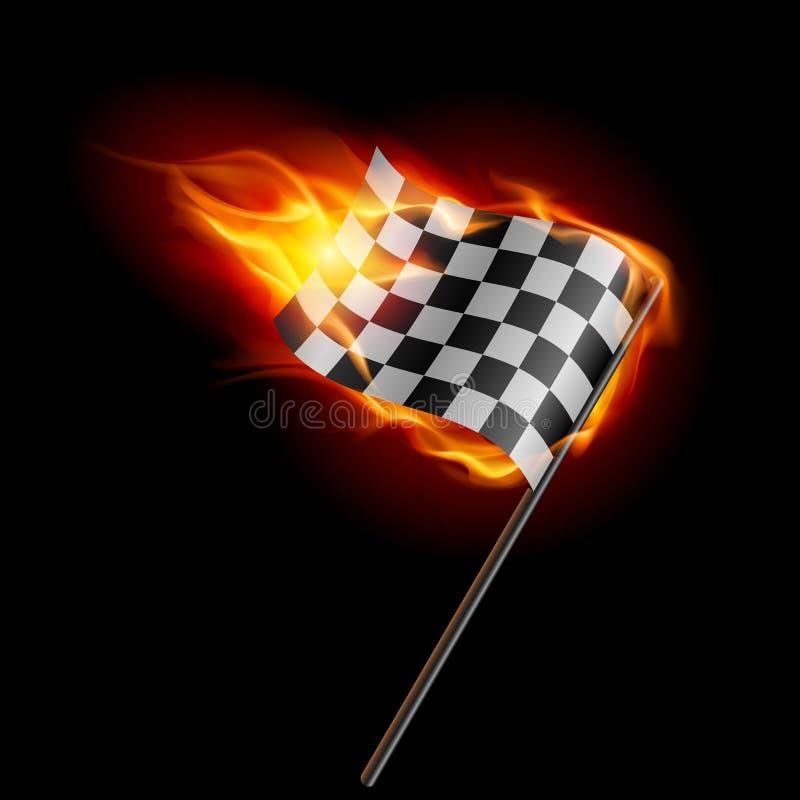 Bandierina di corsa checkered Burning illustrazione di stock