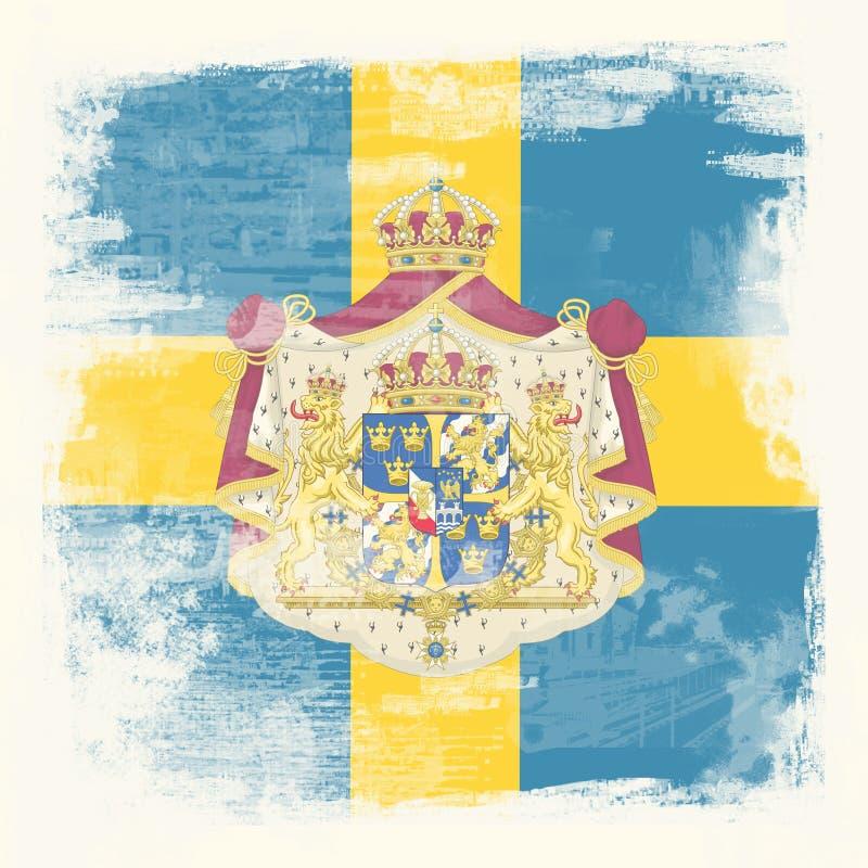 Bandierina di Grunge della Svezia immagini stock libere da diritti