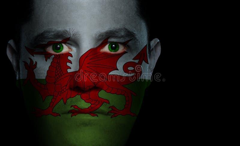 Bandierina di Lingua gallese - fronte maschio fotografia stock libera da diritti