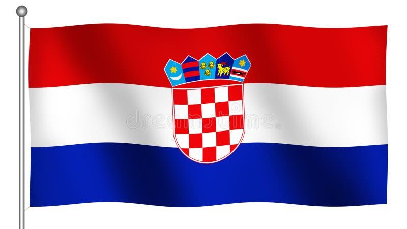 Bandierina di ondeggiamento del Croatia illustrazione di stock