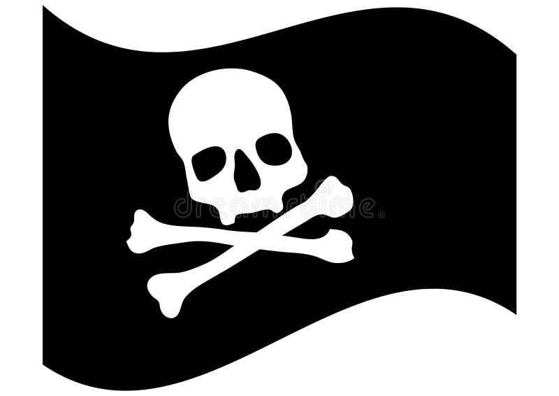 Bandierina di pirata con il cranio illustrazione vettoriale