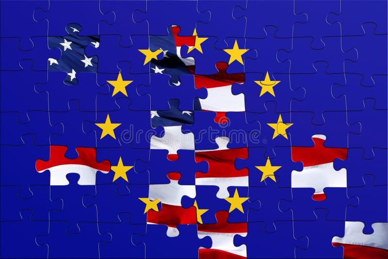 Bandierina di puzzle degli S.U.A. e dell'europeo illustrazione di stock