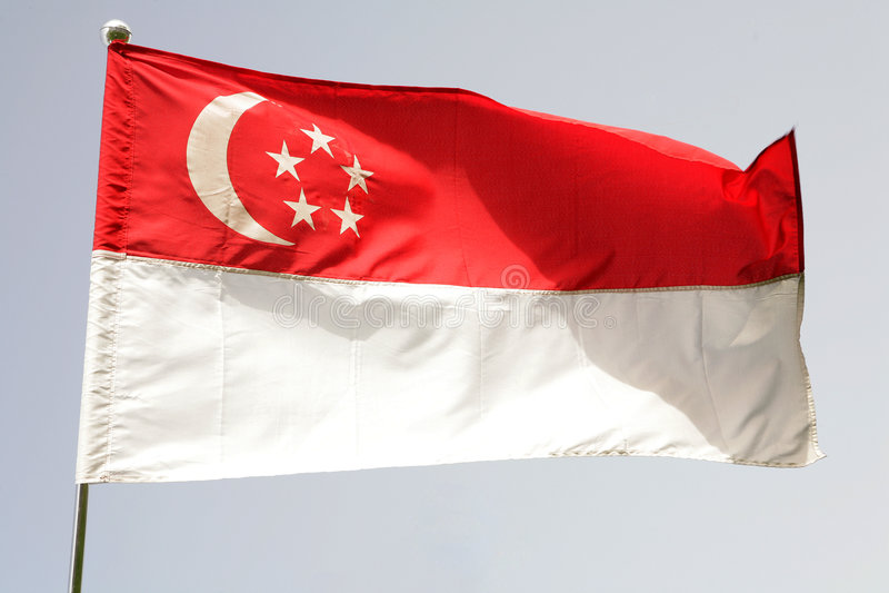 Bandierina di Singapore fotografie stock libere da diritti