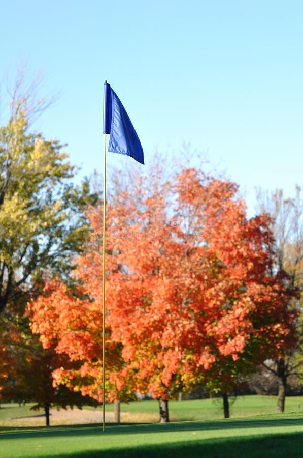 Bandierina e Flagstick di golf con i fogli variopinti di caduta fotografia stock