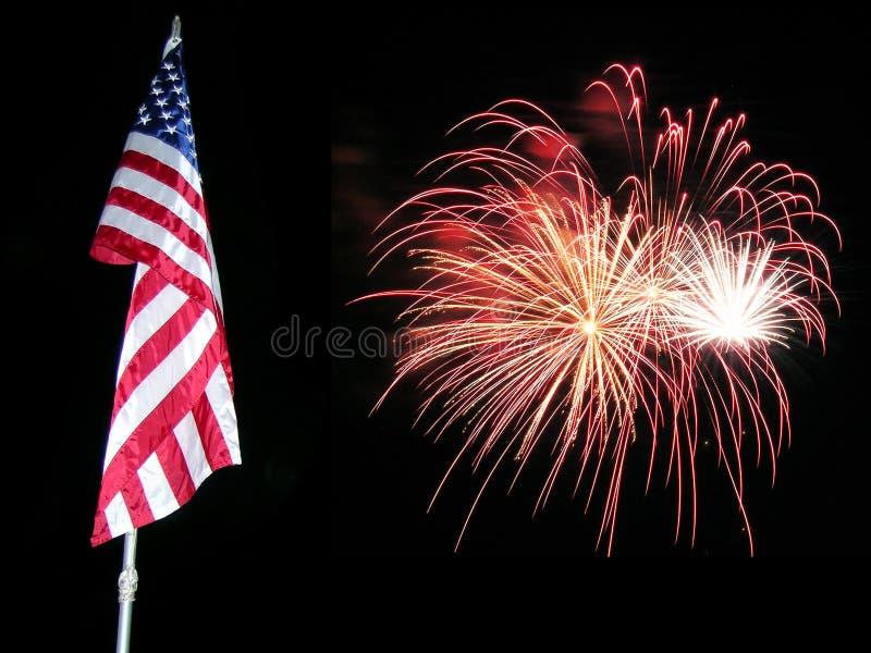 Bandierina e fuochi d'artificio 3 fotografie stock