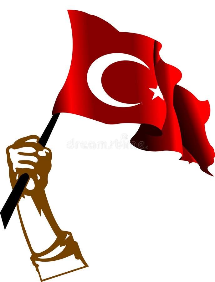 Bandierina e mano della Turchia illustrazione vettoriale