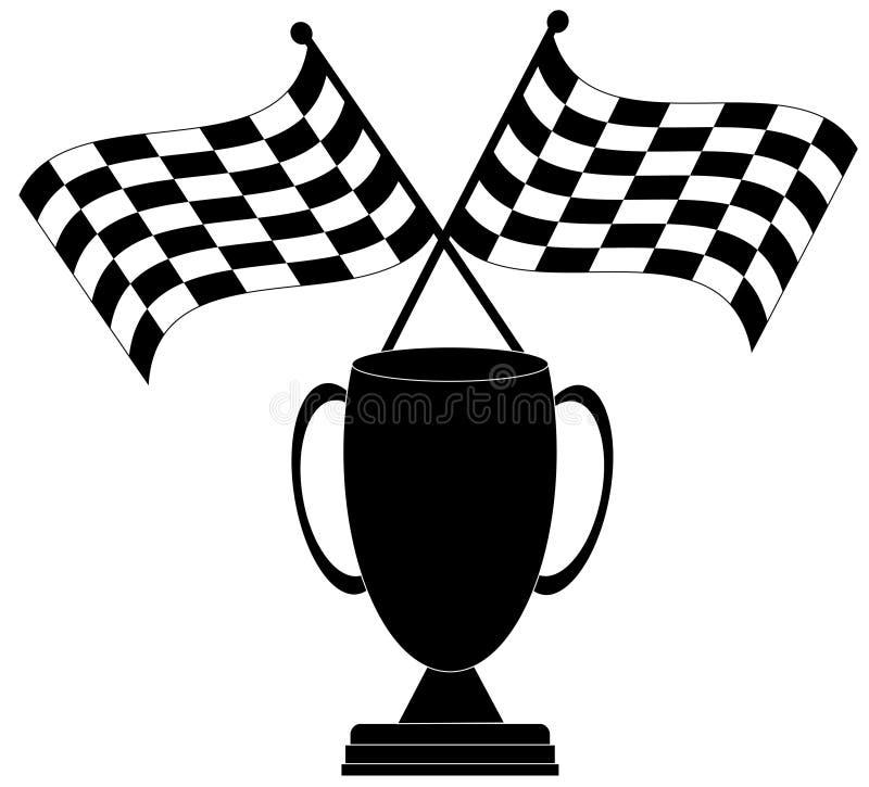 Bandierina e trofeo Checkered illustrazione di stock