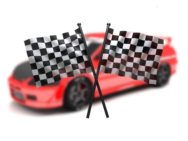 Bandierina ed automobile royalty illustrazione gratis