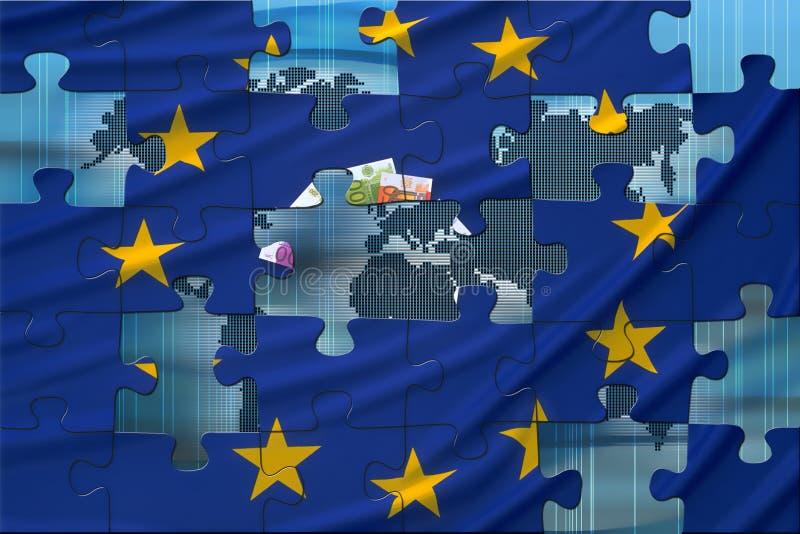 Bandierina europea ed il mondo illustrazione di stock