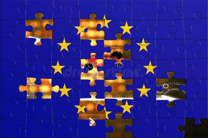 Bandierina europea ed il mondo royalty illustrazione gratis