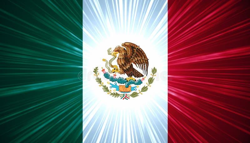 Bandierina messicana con i raggi luminosi