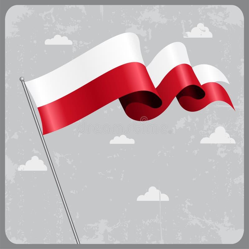 Bandierina ondulata polacca Illustrazione di vettore royalty illustrazione gratis