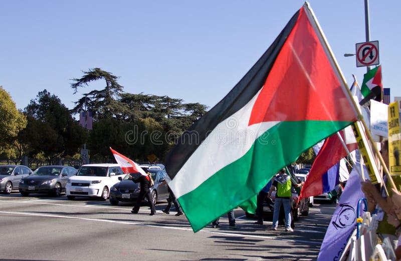 Bandierina palestinese di protesta fotografie stock libere da diritti