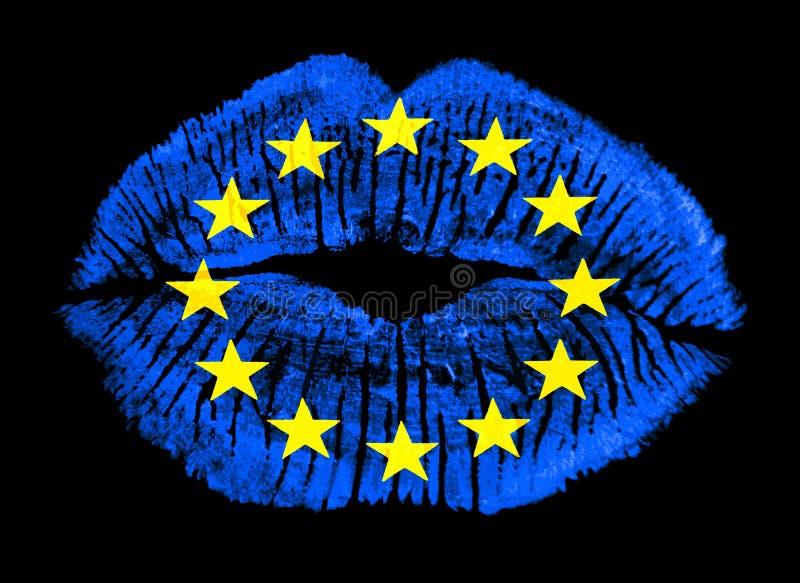 Bandierina patriottica di Unione Europea della stampa dell'orlo di amore illustrazione di stock