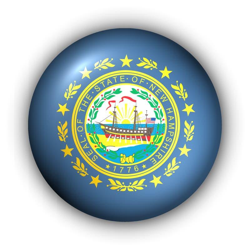 Bandierina rotonda della condizione degli S.U.A. del tasto di del New Hampshire illustrazione vettoriale