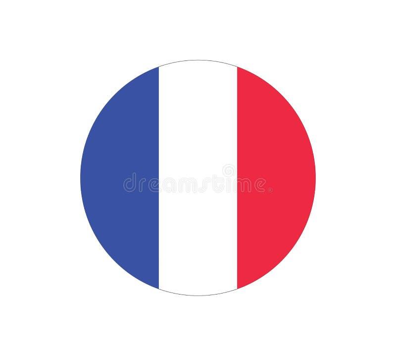 Bandierina rotonda della Francia Icona di vettore della bandiera della Francia Bandierina della Francia illustrazione di stock