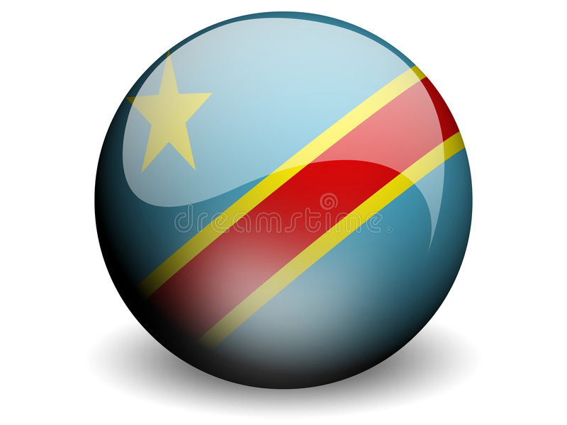 Bandierina rotonda di Congo-Kinshasa illustrazione di stock
