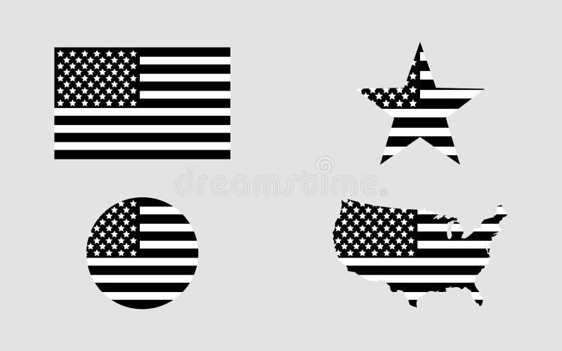 Bandierina S Bandiera S.U.A. della stella Programma degli S Bandiera americana nel cerchio Insieme delle bandiere americane nella illustrazione vettoriale