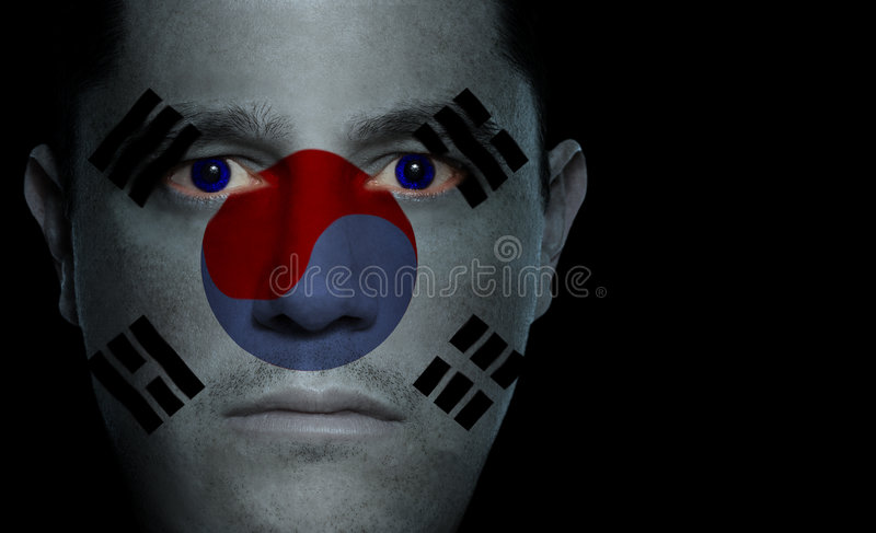 Bandierina sudcoreana - fronte maschio immagine stock