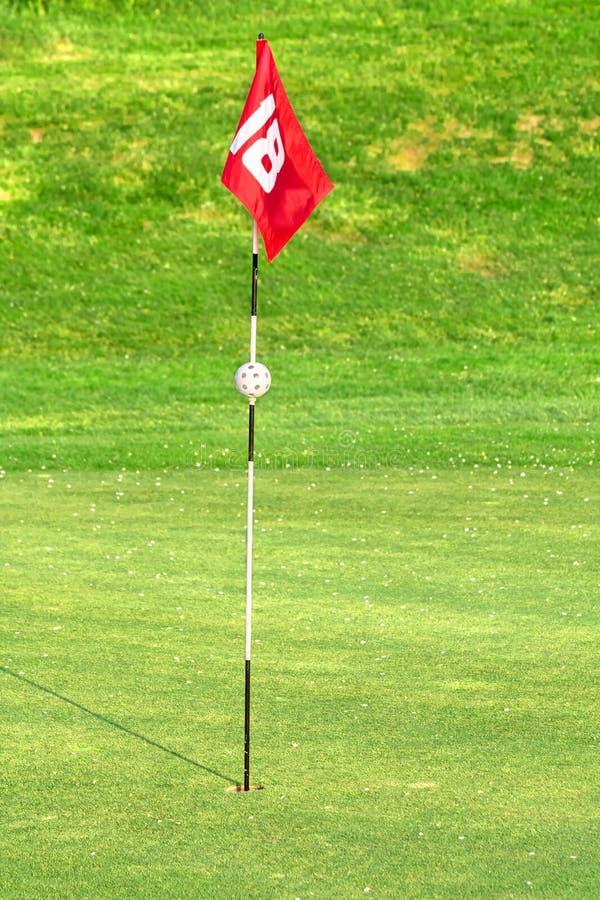 Bandierina sul terreno da golf fotografia stock libera da diritti