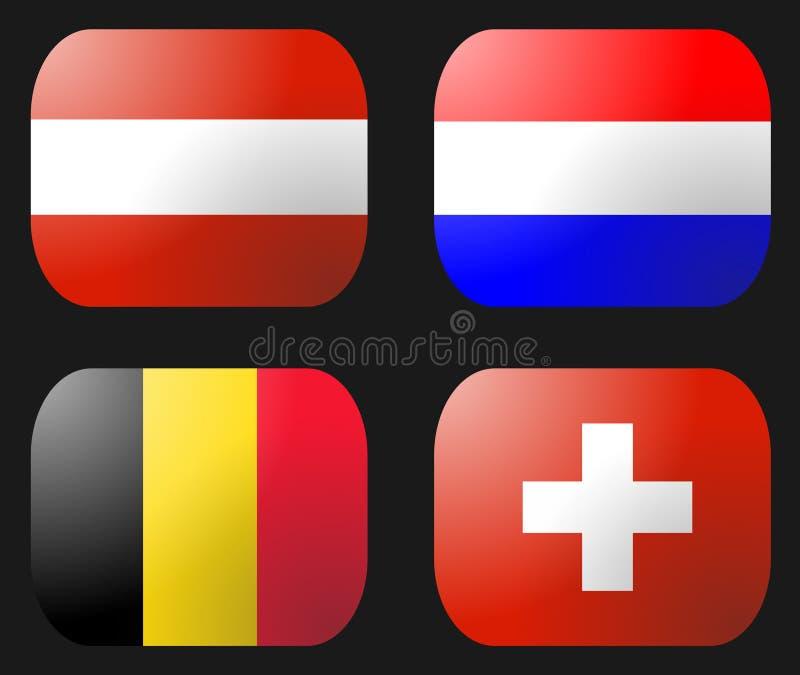 Bandierina svizzera olandese del Belgio Austria illustrazione di stock