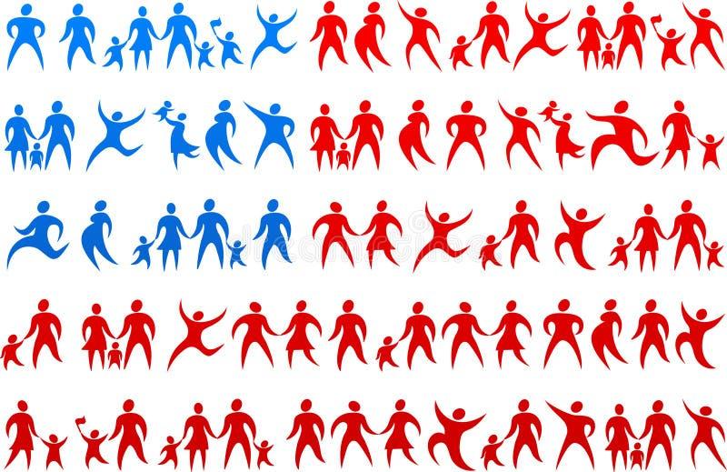 Bandierina umana 2 degli S.U.A. delle icone illustrazione di stock