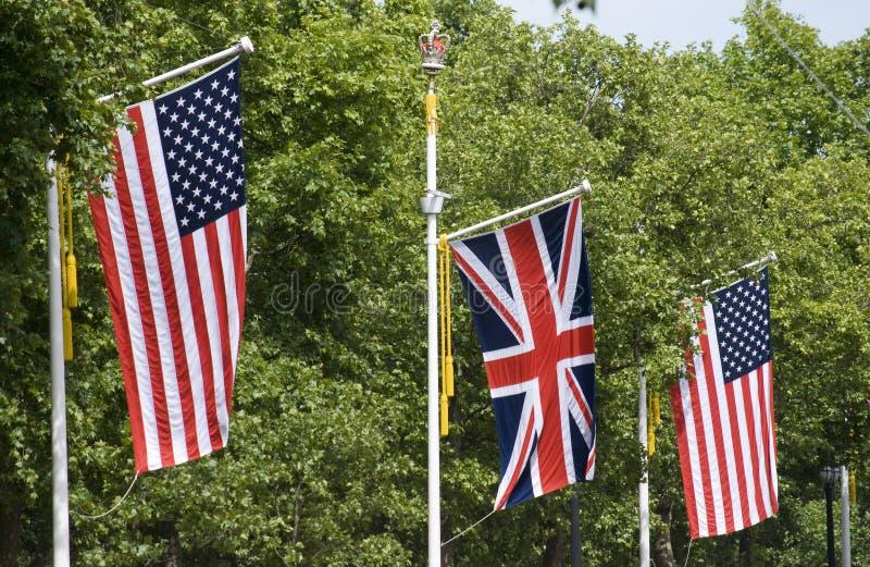 Bandierine americane e britanniche fotografia stock