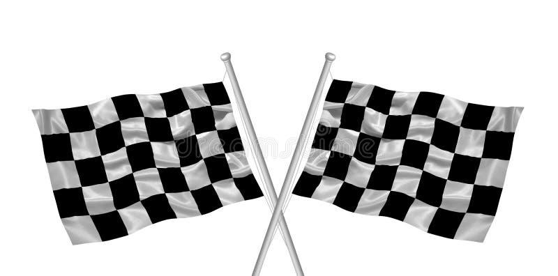 Bandierine Checkered attraversate royalty illustrazione gratis