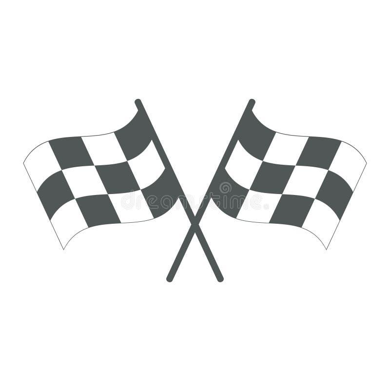 Bandierine Checkered attraversate Icona della corsa dell'interfaccia utente di rivestimento illustrazione vettoriale