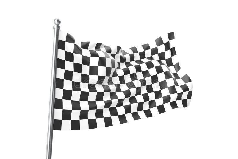 Bandierine Checkered Correndo bandiera, rappresentazione 3d isolata su bianco illustrazione di stock