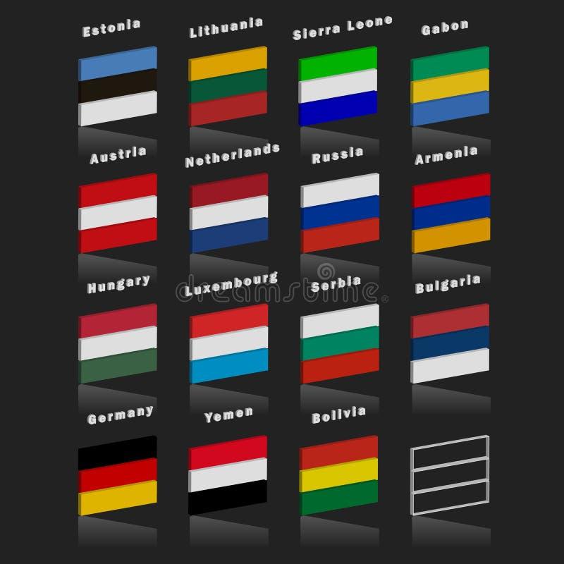 Bandierine dei paesi del mondo Lle bandiere di paese di tre colori orizzontale con effetto 3d illustrazione di stock