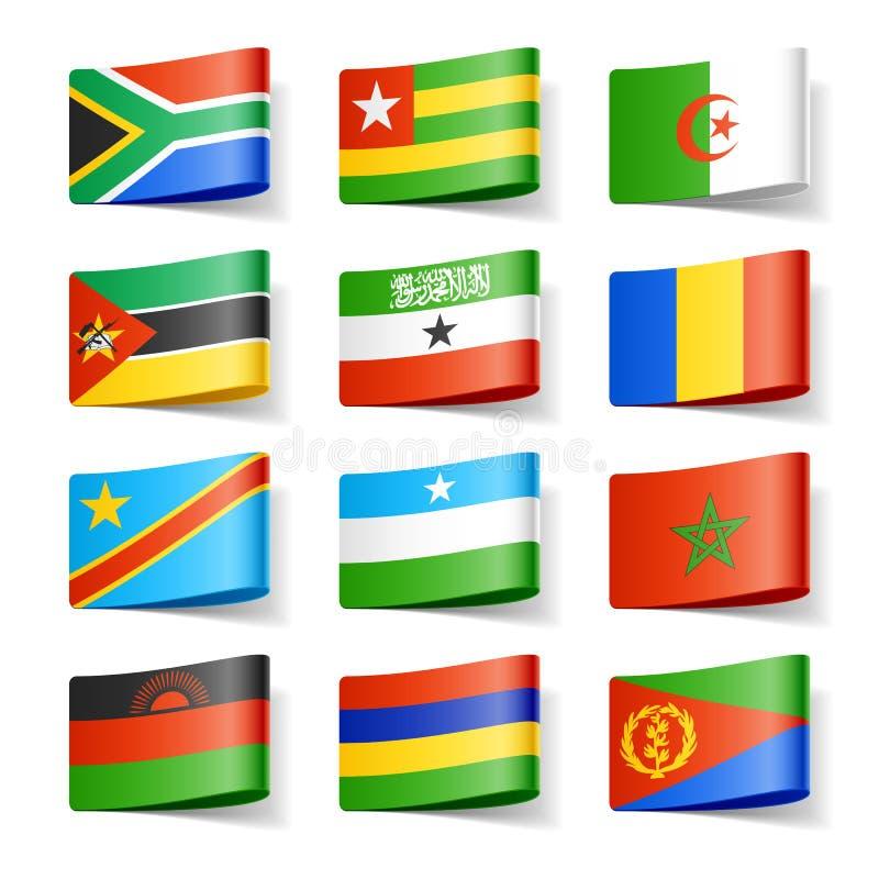 Bandierine del mondo. L'Africa. illustrazione vettoriale