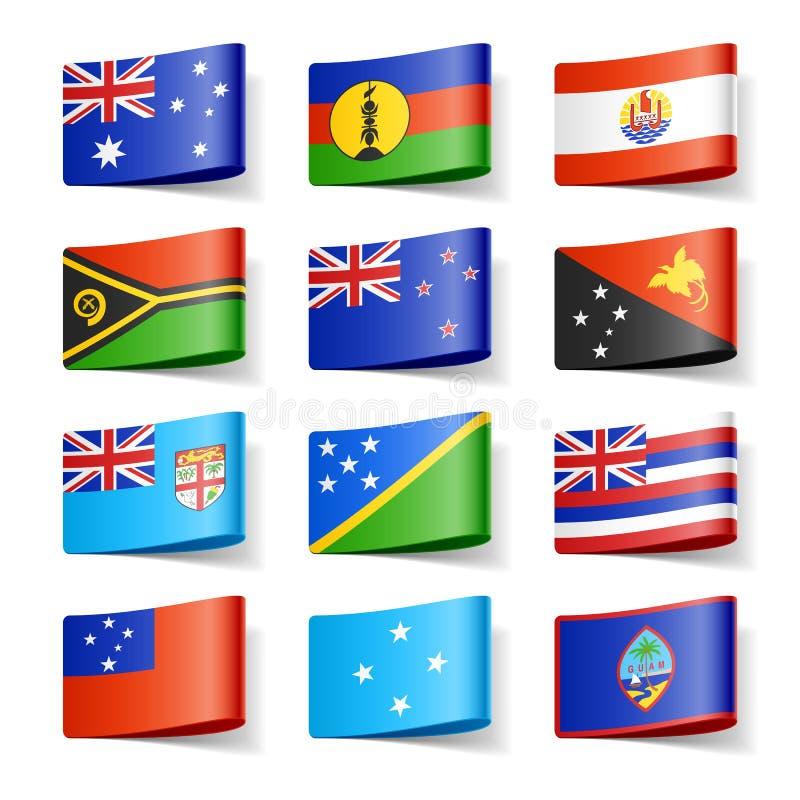 Bandierine del mondo. Oceania. illustrazione vettoriale