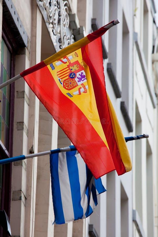 Bandierine della Spagna e della Grecia fotografia stock