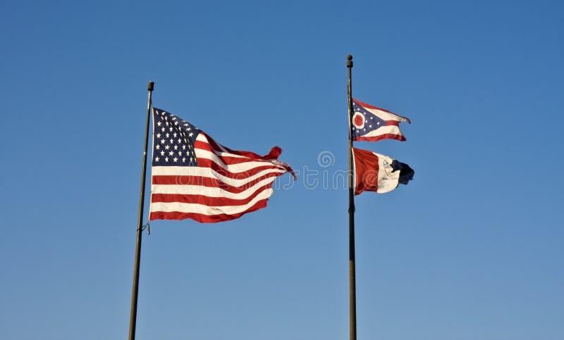 Bandierine di Cleveland, dell'Ohio e degli S.U.A. fotografia stock