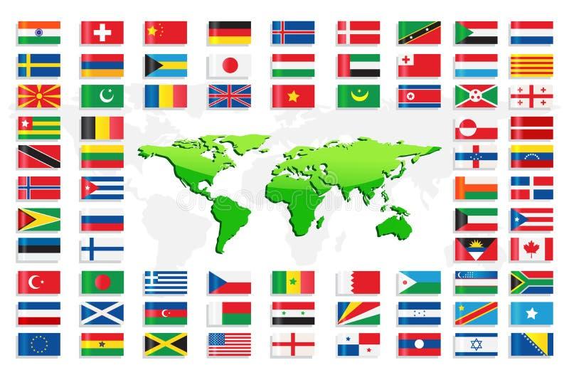 Bandierine di paese con il programma di mondo royalty illustrazione gratis