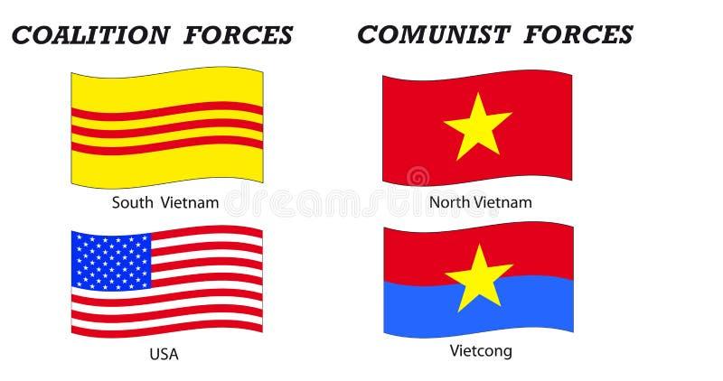 Bandierine e coalizioni di guerra di Vietnam illustrazione di stock