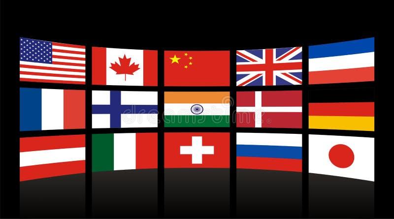 Bandierine globali illustrazione vettoriale