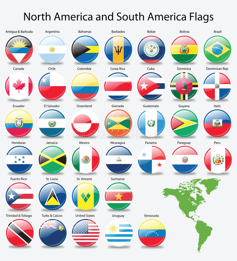 Bandierine lucide del tasto del continente americano royalty illustrazione gratis