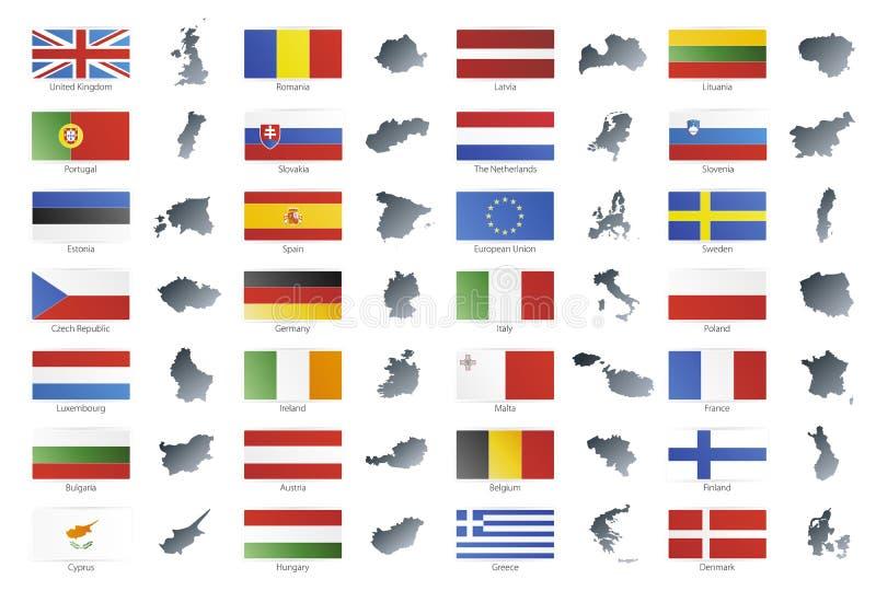 Bandierine moderne di stile del sindacato europeo con i programmi illustrazione vettoriale