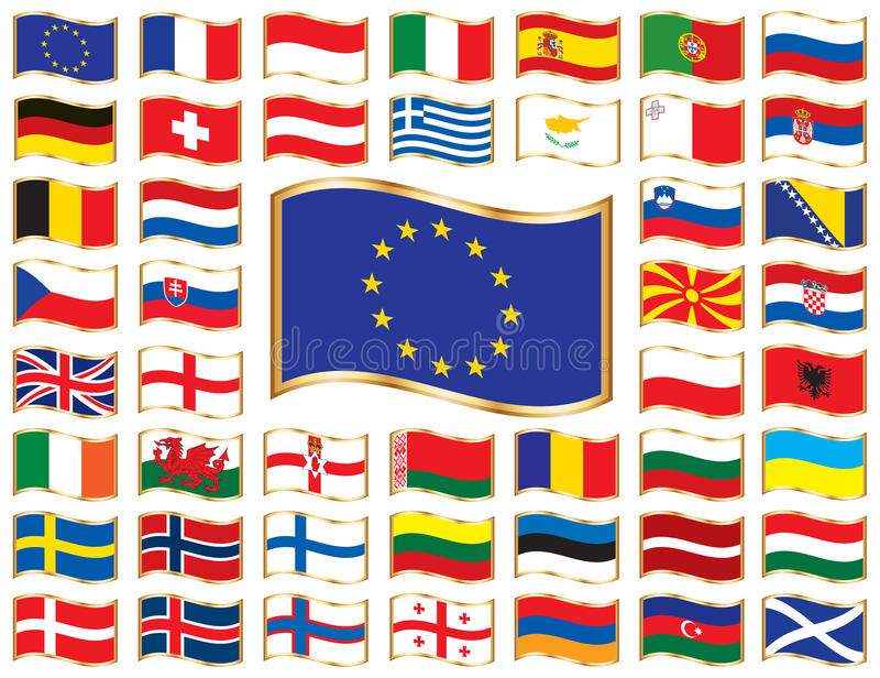Bandierine ondulate con il blocco per grafici dell'oro - Europa illustrazione vettoriale