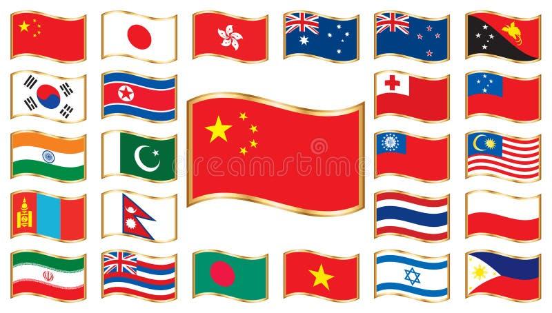 Bandierine ondulate con il blocco per grafici dell'oro - l'Asia ed Oceania illustrazione di stock