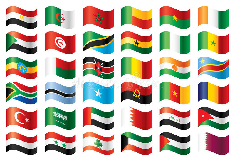 Bandierine ondulate impostate - l'Africa & Medio Oriente illustrazione di stock