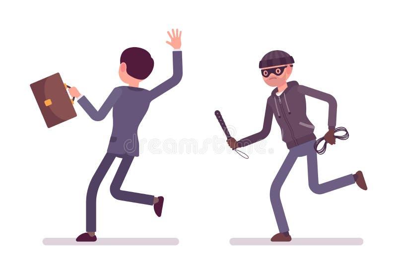 Bandiet die zijn slachtoffer achtervolgen vector illustratie