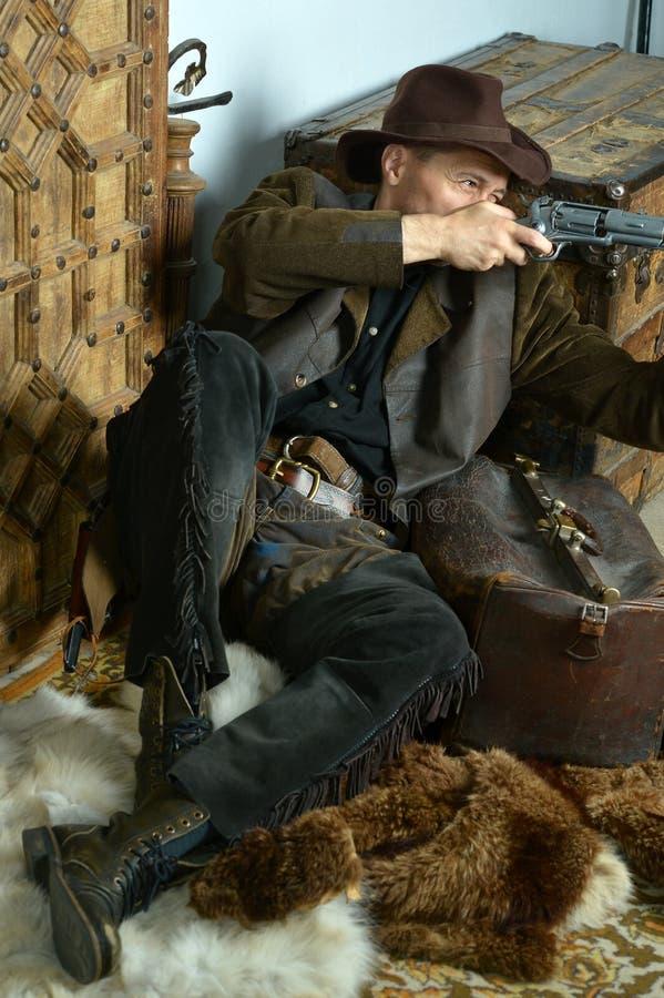 Bandiet met kanon stock fotografie
