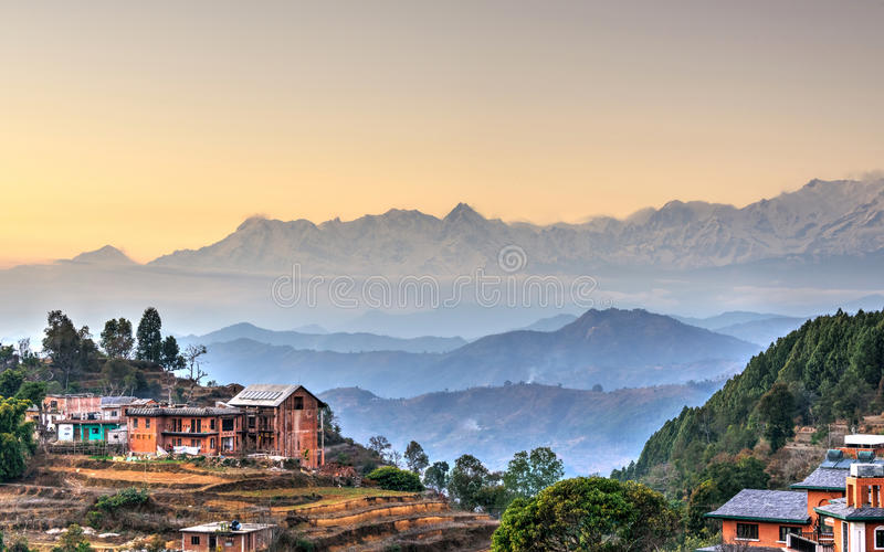 Bandipur village in Nepal. HDR photography stock image